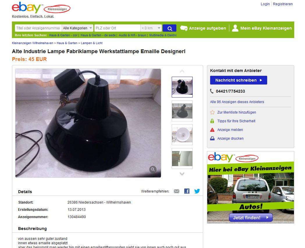 louis poulsen pendelleuchte werkstattlampe industrieleuchte fabriklampe ebay kleinanzeigen mit. Black Bedroom Furniture Sets. Home Design Ideas