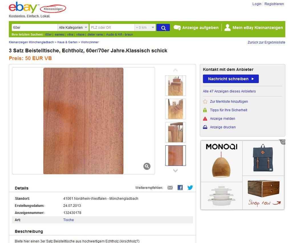 satztische beistelltische nesting tables 3er aus holz ebay kleinanzeigen mit stil ebay. Black Bedroom Furniture Sets. Home Design Ideas