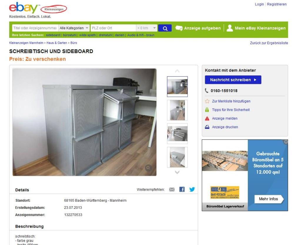 anrichte im industriedesign industrial sideboard aus metall alu plus schreibtisch geschenkt. Black Bedroom Furniture Sets. Home Design Ideas