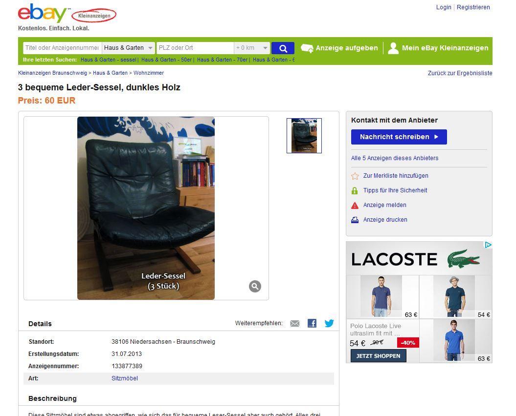 Westnofa ingmar relling ledersessel lounge chair 3 st ck for Sessel ebay kleinanzeigen