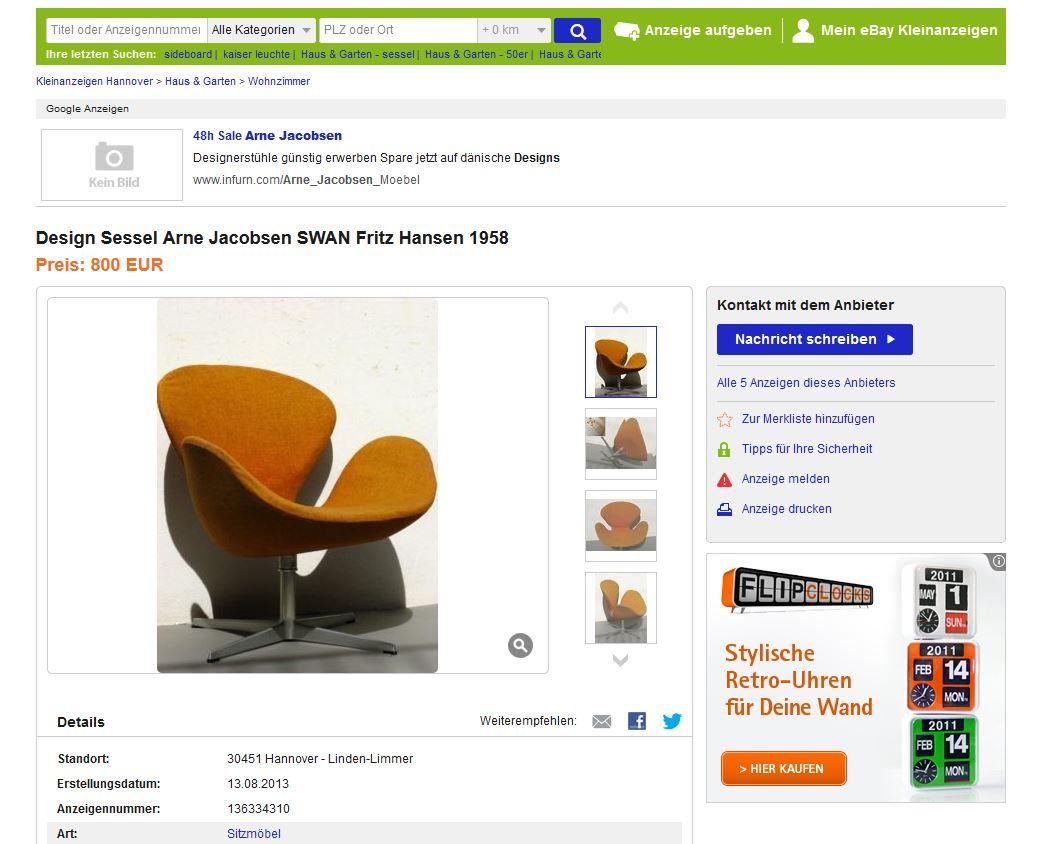 fritz hansen arne jacobsen sessel swan chair der schwan ebay kleinanzeigen mit stil ebay. Black Bedroom Furniture Sets. Home Design Ideas