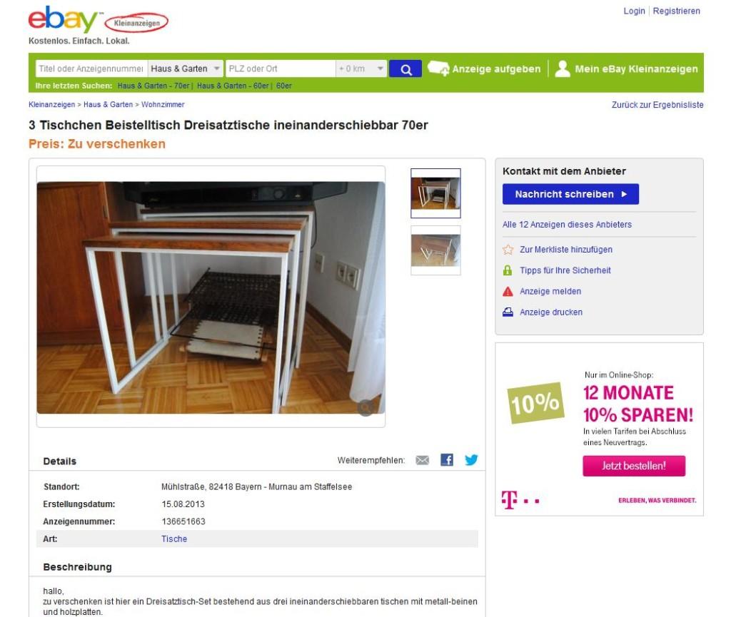 satztische beistelltische nesting tables 3er holz mit metallgestell zu verschenken ebay. Black Bedroom Furniture Sets. Home Design Ideas