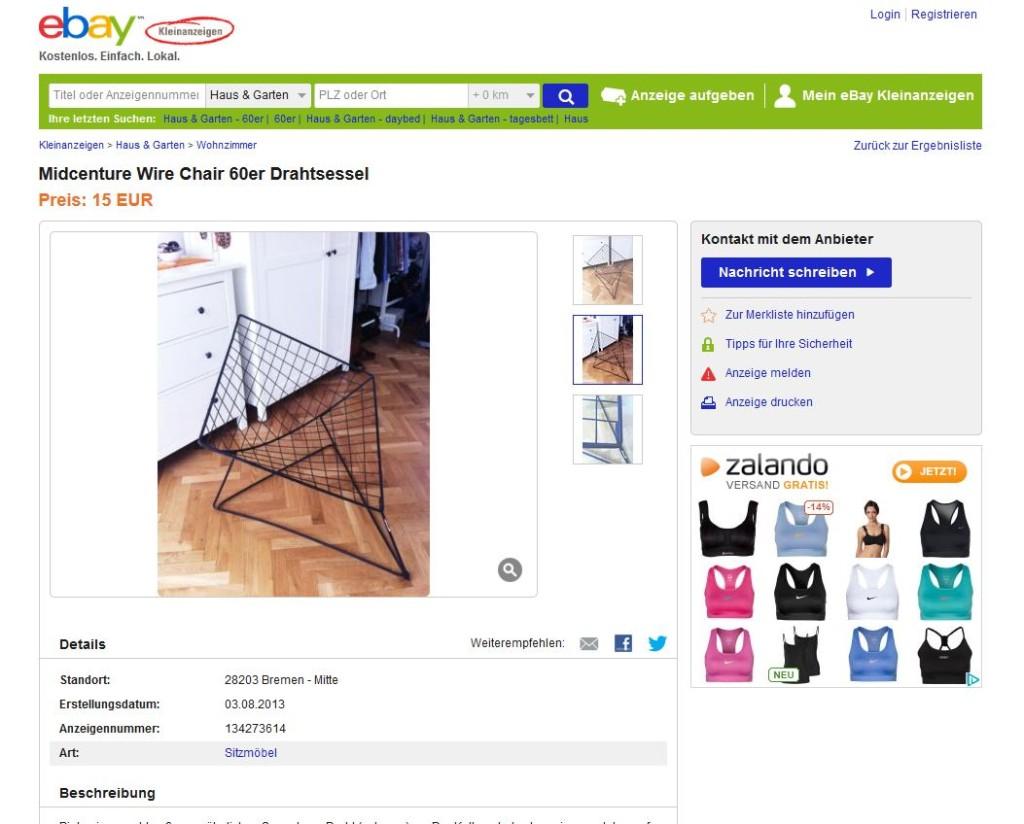 Wire chair im stil von harry bertoia knoll international for Ebay kleinanzeigen schaukelstuhl