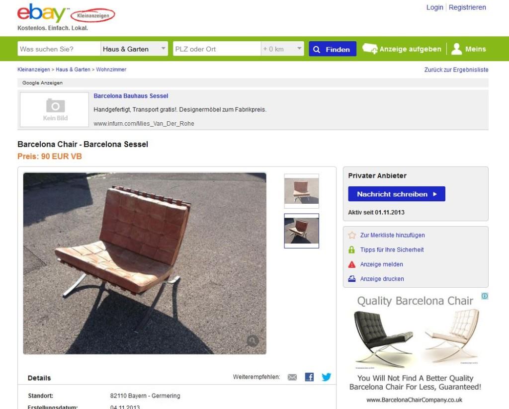 knoll international barcelona chair ludwig mies van der rohe sessel ebay kleinanzeigen mit. Black Bedroom Furniture Sets. Home Design Ideas