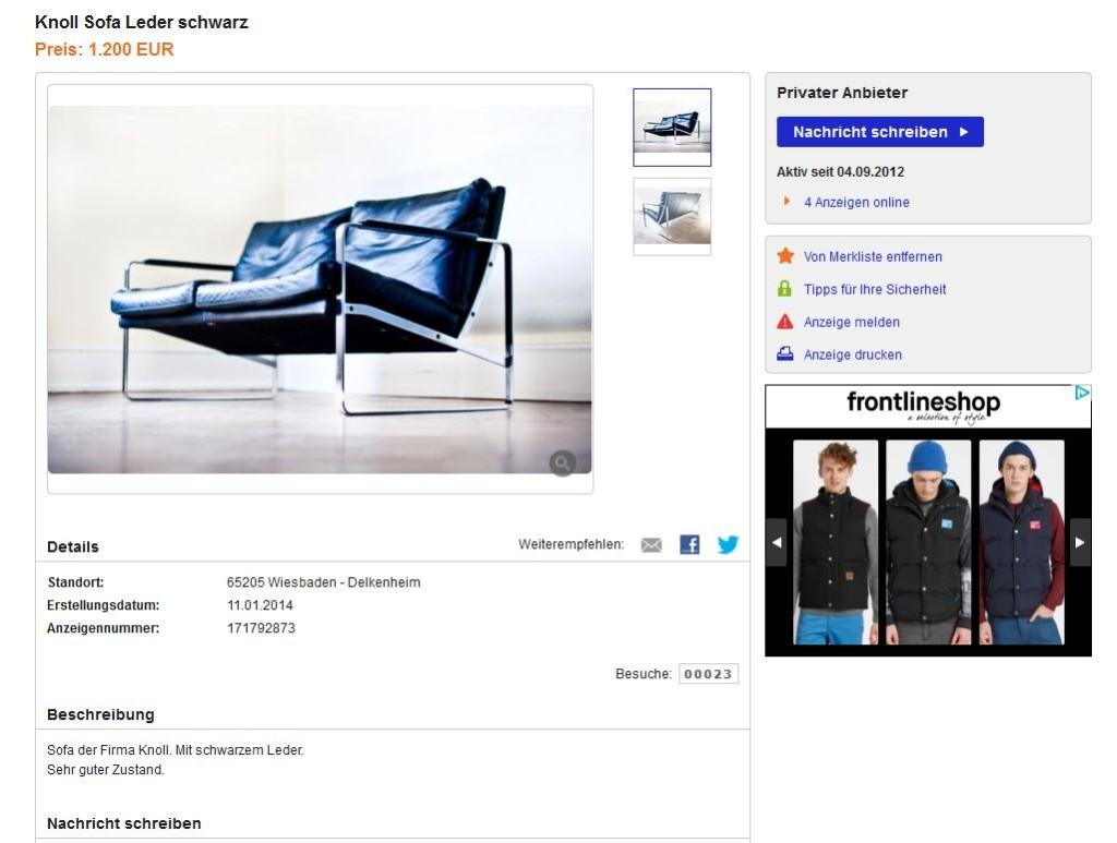 walter knoll preben fabricius ledersofa zweisitzer ebay kleinanzeigen mit stil ebay. Black Bedroom Furniture Sets. Home Design Ideas