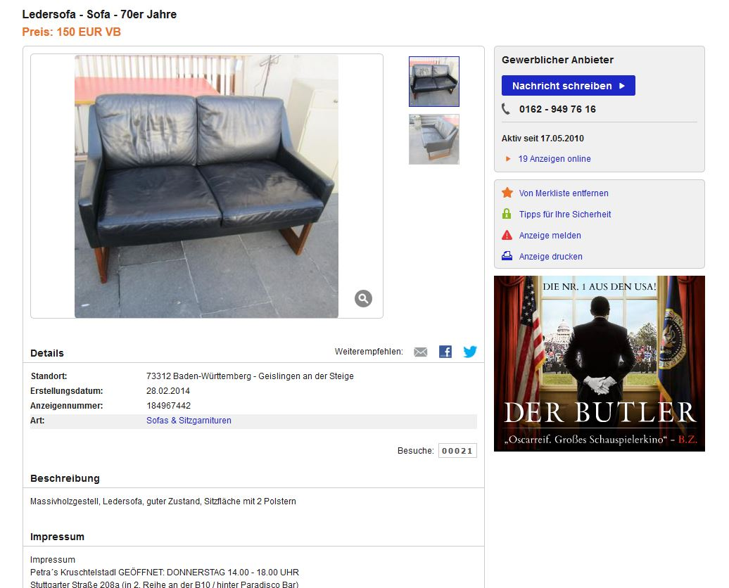 Kill international rudolf b glatzel ledersofa schwarz for Ledersofa ebay