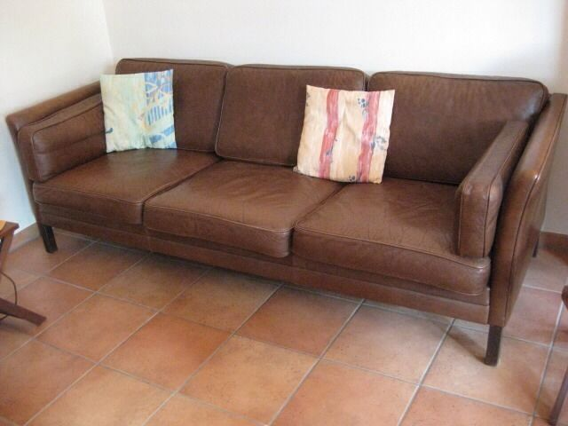 danish design ledersofa und sessel im stile von borge mogensen stouby oder mogens hansen ebay. Black Bedroom Furniture Sets. Home Design Ideas