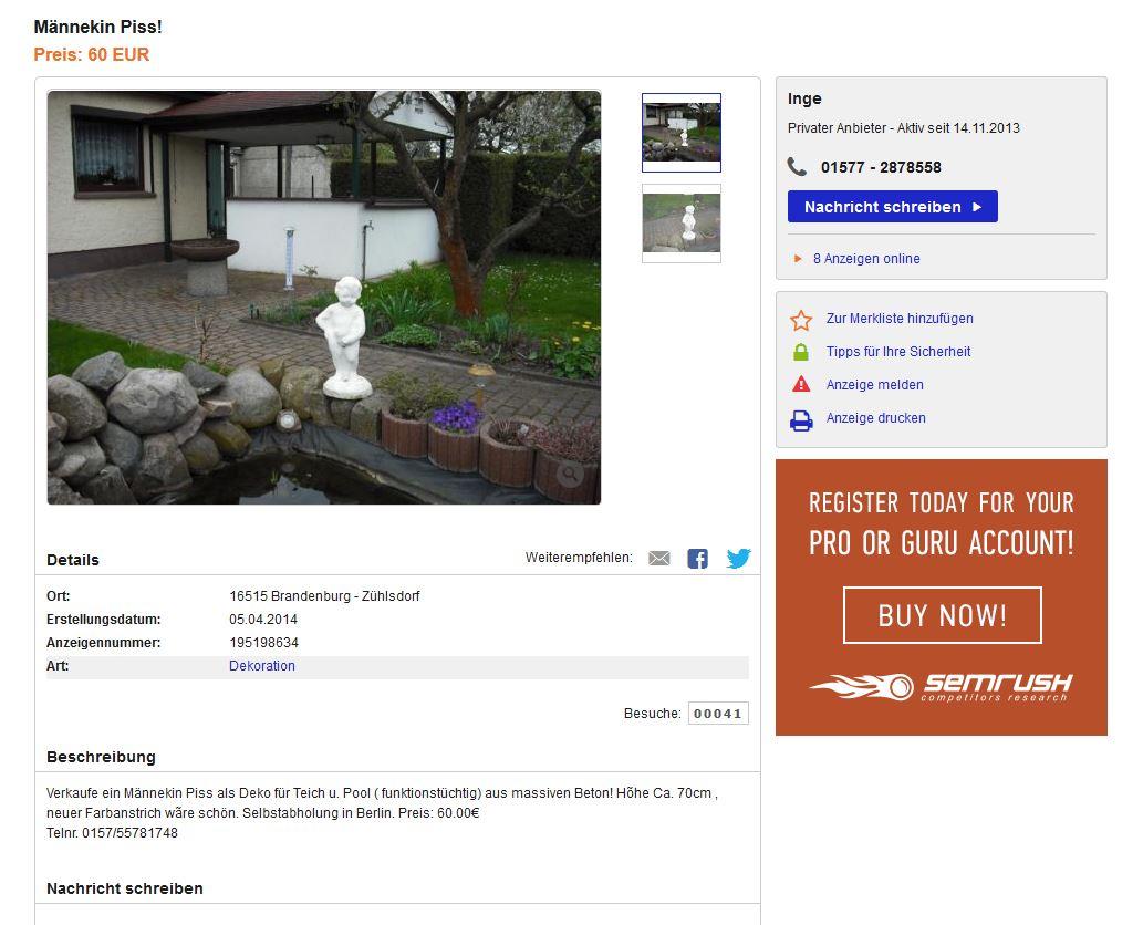 schei e kacke pisse ebay kleinanzeigen mit stil ebay kleinanzeigen mit stil. Black Bedroom Furniture Sets. Home Design Ideas