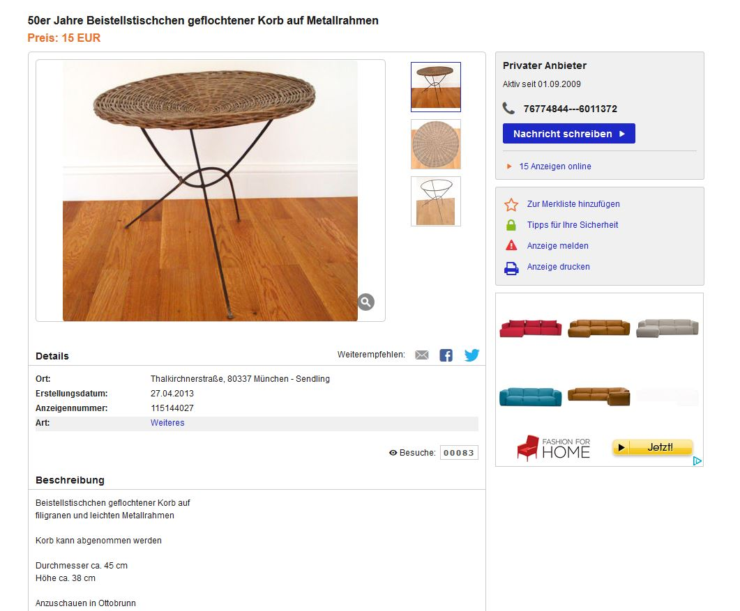 beistelltisch basket side table im franco legler stil 50er ebay kleinanzeigen mit stil ebay. Black Bedroom Furniture Sets. Home Design Ideas