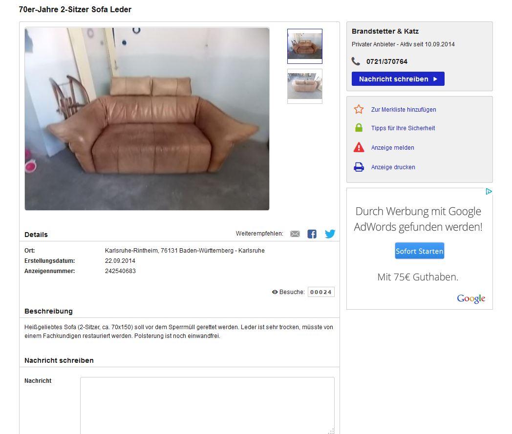 Zu verschenken montis ledersofa design gerard van den for Ebay kleinanzeigen karlsruhe