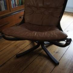 Sigurd Ressell Falcon Chair für Vatne Møbler Ledersessel 70er
