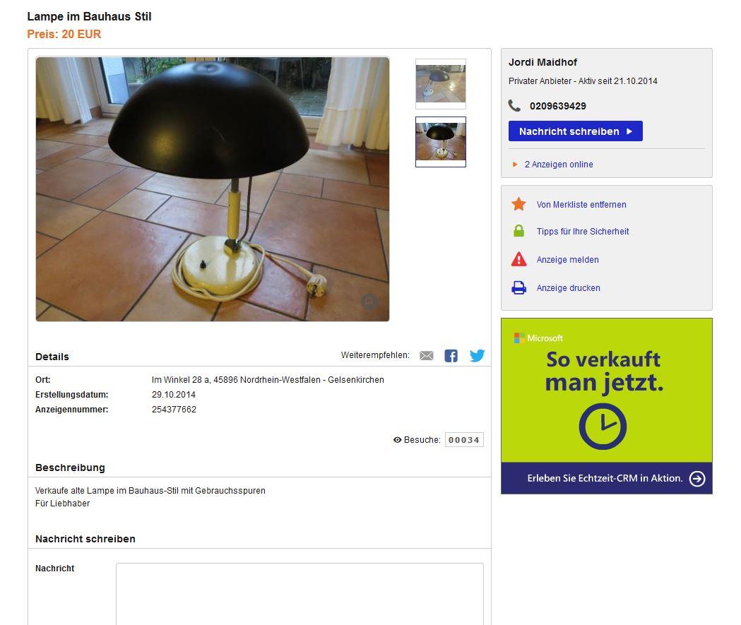 karl trabert tischlampe leuchte f r g schanzenbach co. Black Bedroom Furniture Sets. Home Design Ideas