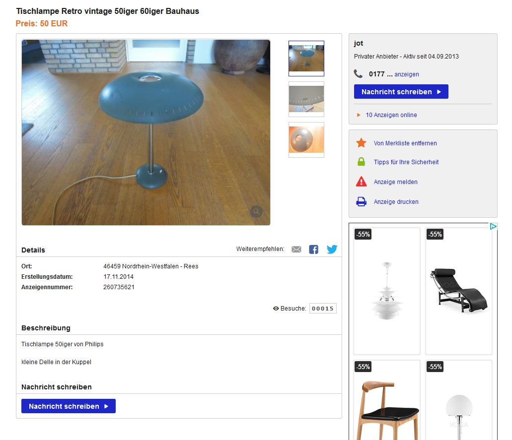 Tischleuchte louis kalff f r philips 50er bauhaus vintage for Ebay kleinanzeigen schaukelstuhl