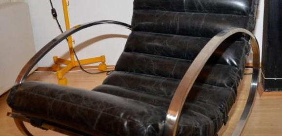 Zwei Vintage Schaukelstühle Rocking Chairs im Stile von Hans Kaufeld oder Milo Baughman