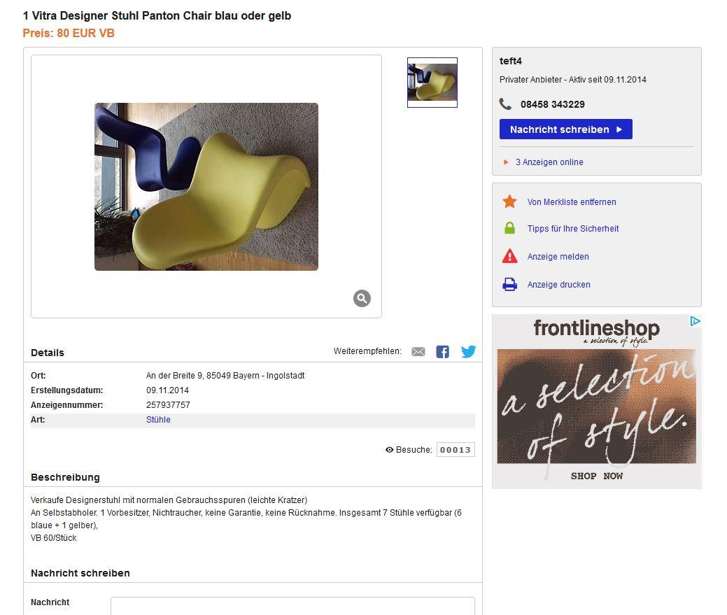 verner panton für vitra panton chair 60er stühle ebay