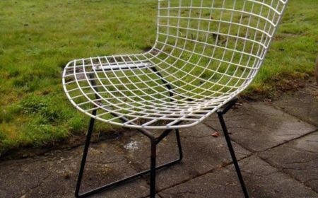 Harry Bertoia Wire Chair 420 für Knoll International Drahtsessel mit Sitzbezug