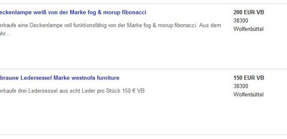 Fog & Mørup Fibonacci Lampe und Westnofa Sessel im Preis über den Tag gestiegen