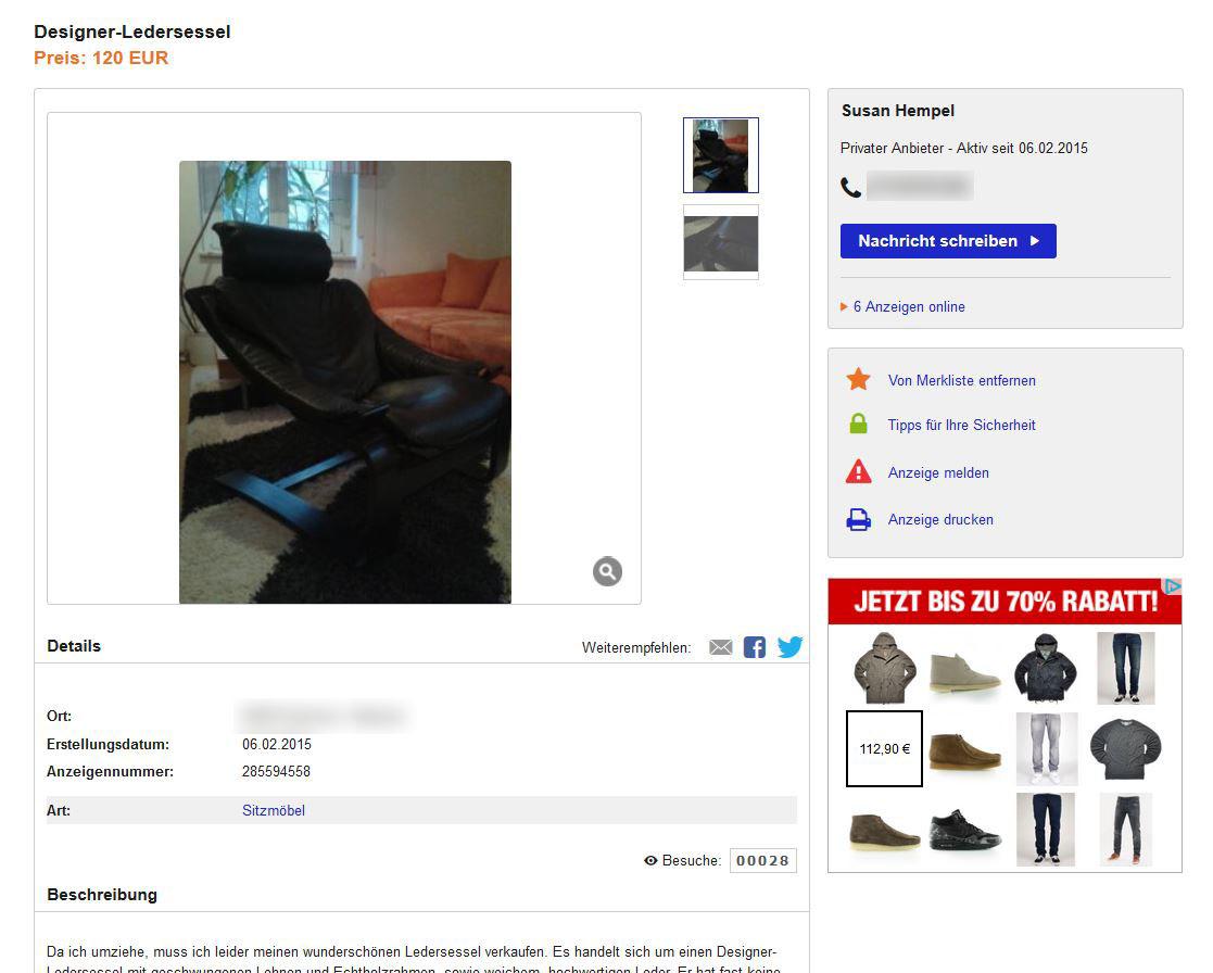 Familie Hempel Verkauft Einen Kroken Sessel Ebay Kleinanzeigen Mit Stil Ebay