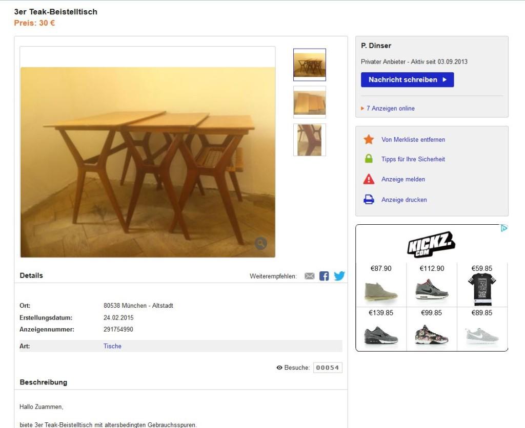 satztische beistelltische nesting tables 3er teakholz danish modern design ebay kleinanzeigen. Black Bedroom Furniture Sets. Home Design Ideas