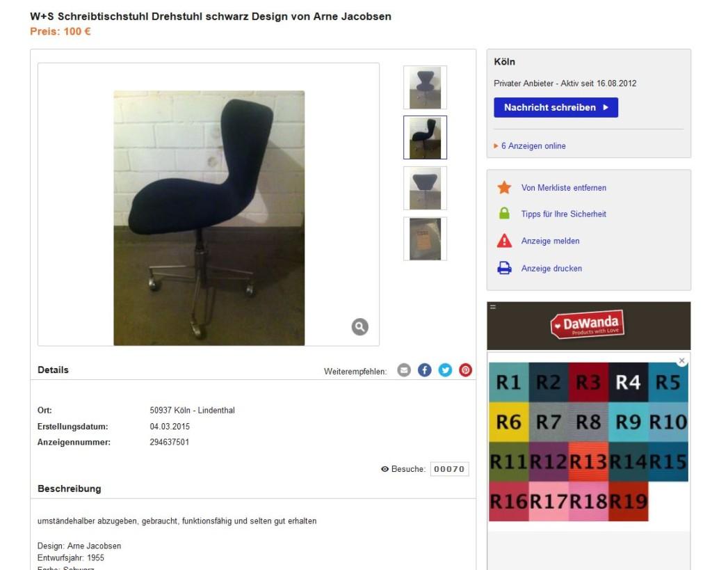 Egon jacobsen arne eiermann f r wilde hansen ebay - Arne jacobsen drehstuhl ...