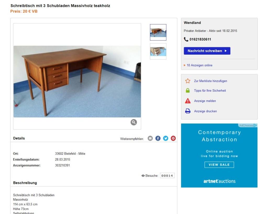 Danish Modern Design Klassiker Midcentury Teakholz Schreibtisch 50er 60er Jahre