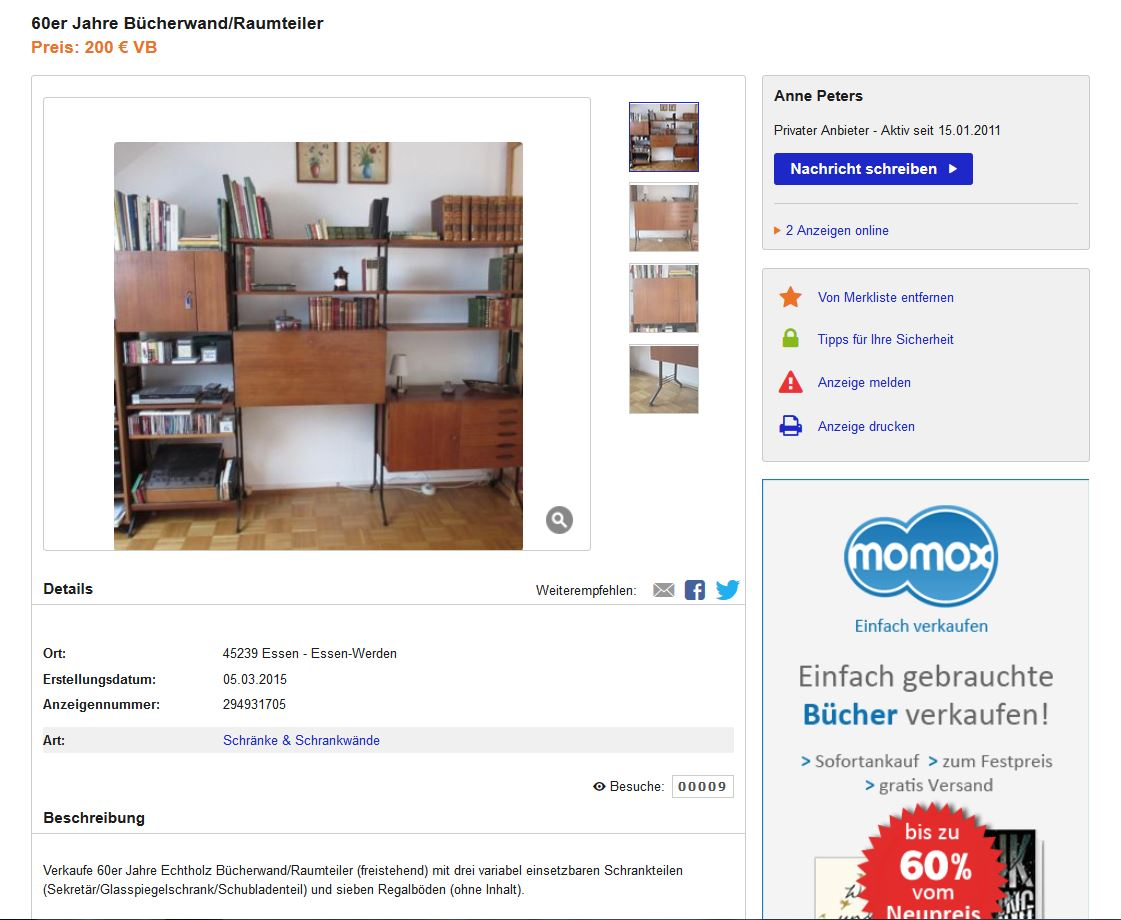 teak wall unit shelving regalsystem danish design 50er. Black Bedroom Furniture Sets. Home Design Ideas