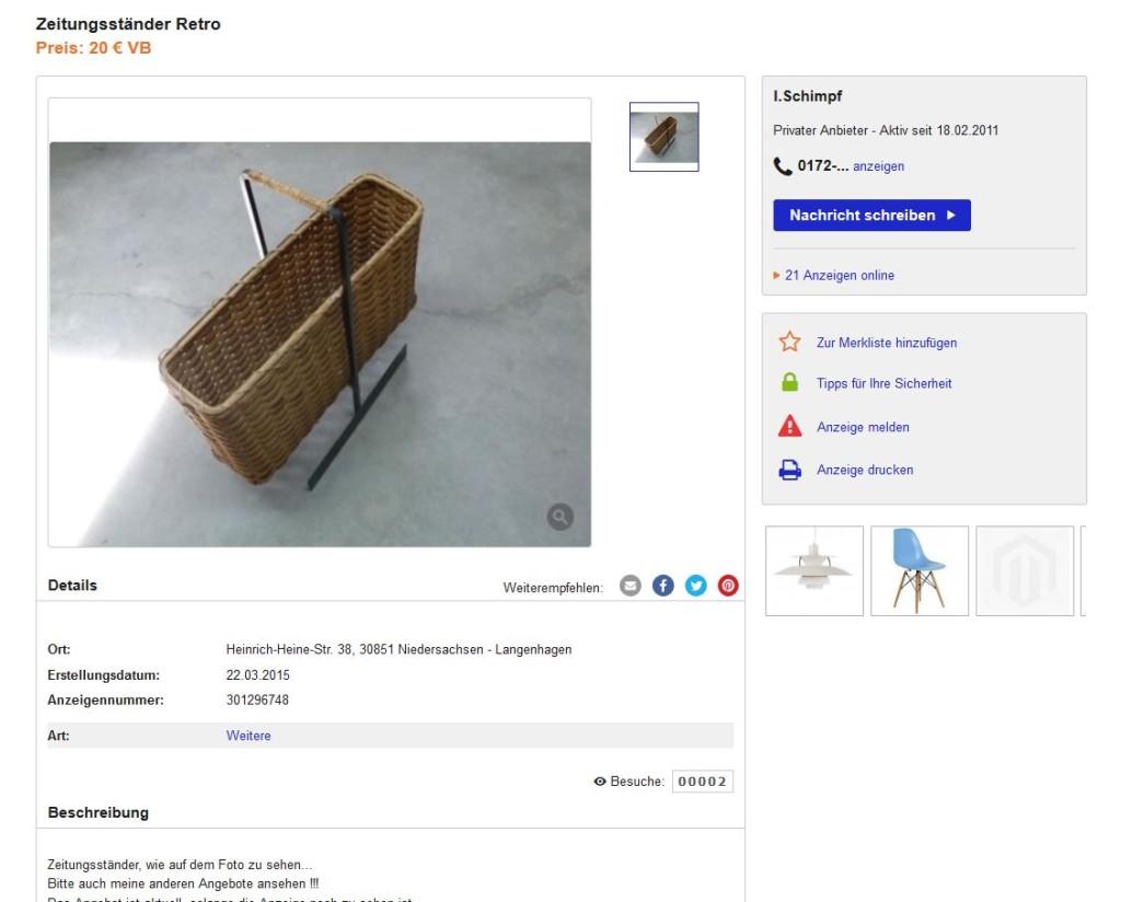 vintage zeitungsst nder aus bast mit metallgestell und. Black Bedroom Furniture Sets. Home Design Ideas