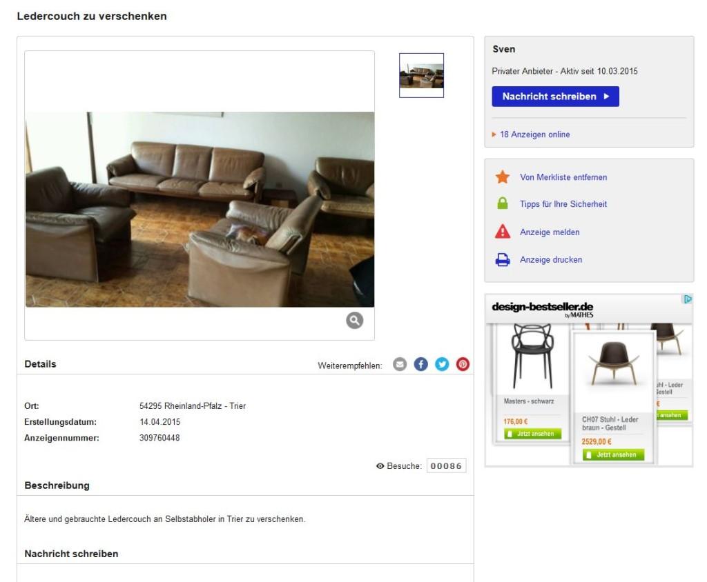 Zu Verschenken De Sede Ds 61 Braunes Vintage Design Ledersofa Ebay Kleinanzeigen Mit Stil