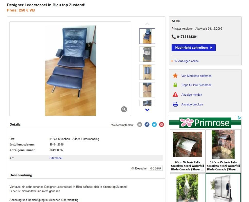 hans eichenberger f r de sede ds 2030 lounge chair ledersessel und ottomane in blau ebay. Black Bedroom Furniture Sets. Home Design Ideas