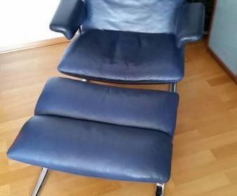 Hans Eichenberger für De Sede DS-2030 Lounge Chair Ledersessel und Ottomane in blau