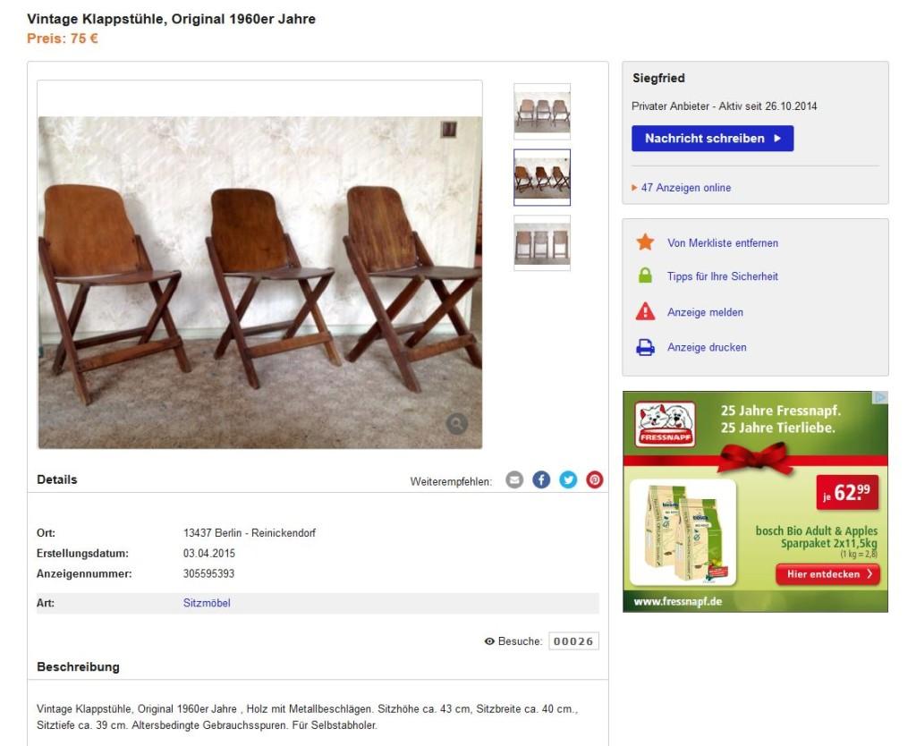 Drei klappst hle folding chairs 40er 50er jahre vintage for Ebay kleinanzeigen schaukelstuhl