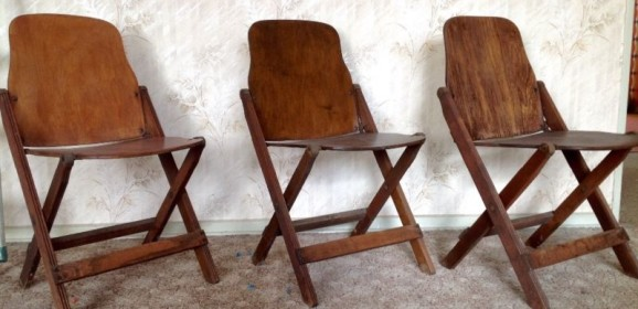 Drei Klappstühle Folding Chairs 40er 50er Jahre Vintage American Seating Company