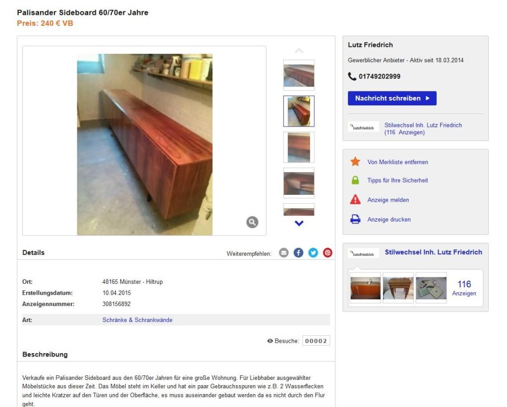 minimalistisches palisander sideboard anrichte kommode. Black Bedroom Furniture Sets. Home Design Ideas