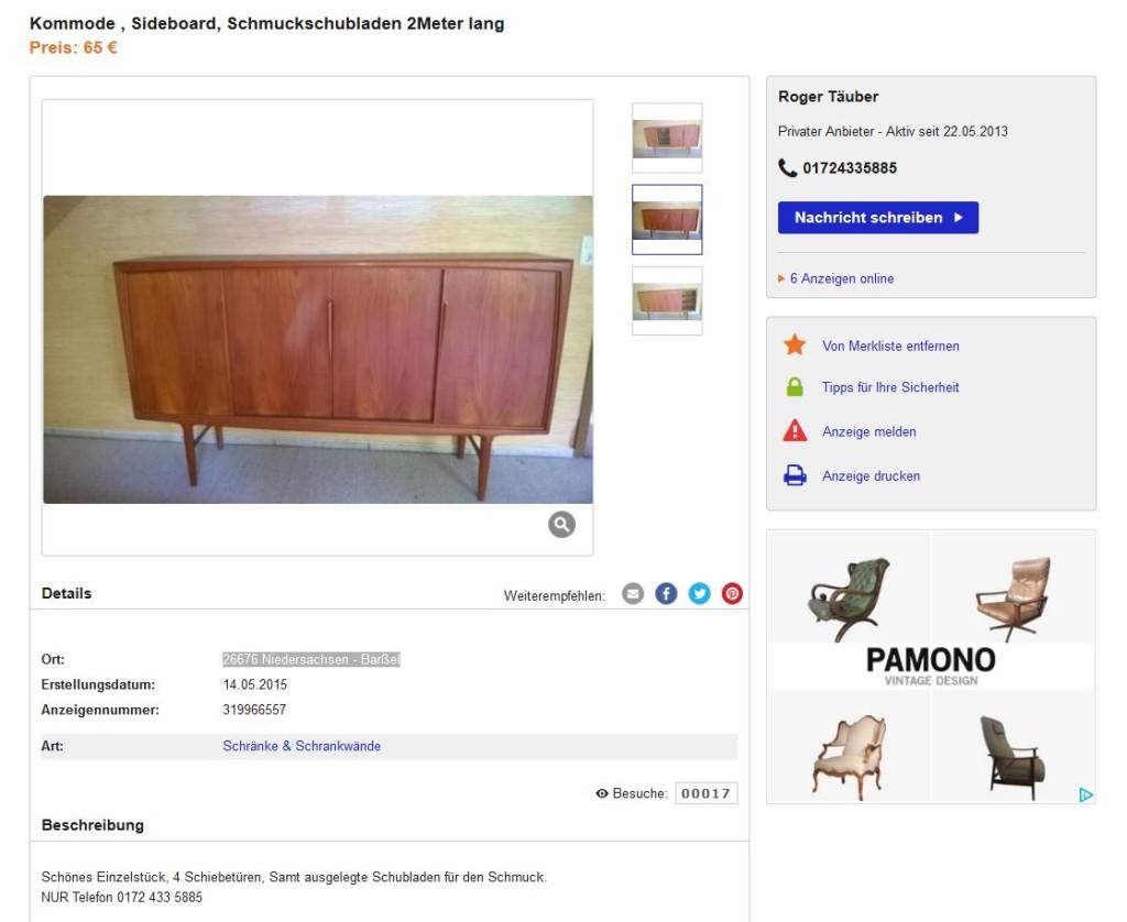 Gunni Omann Sideboard Highboard Axel Christensen Omann Jun Danish Design Teakholz Möbel gebraucht kaufen Vintage Midcentury