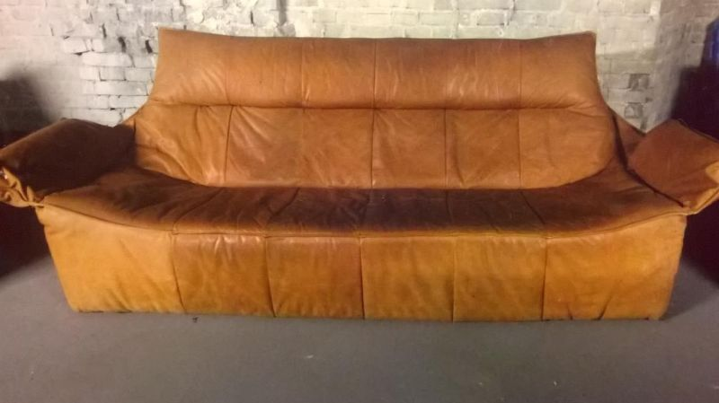 montis ledersofa und zwei sessel design gerard van den berg 70er vintage holland ebay. Black Bedroom Furniture Sets. Home Design Ideas