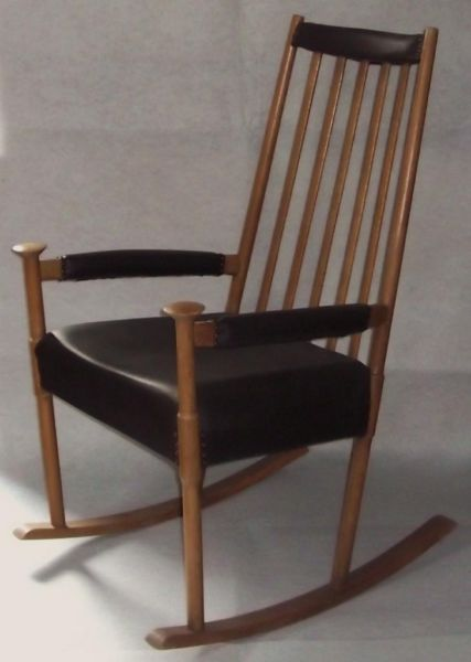 vintage schaukelstuhl mit leder rocking chair midcentury. Black Bedroom Furniture Sets. Home Design Ideas