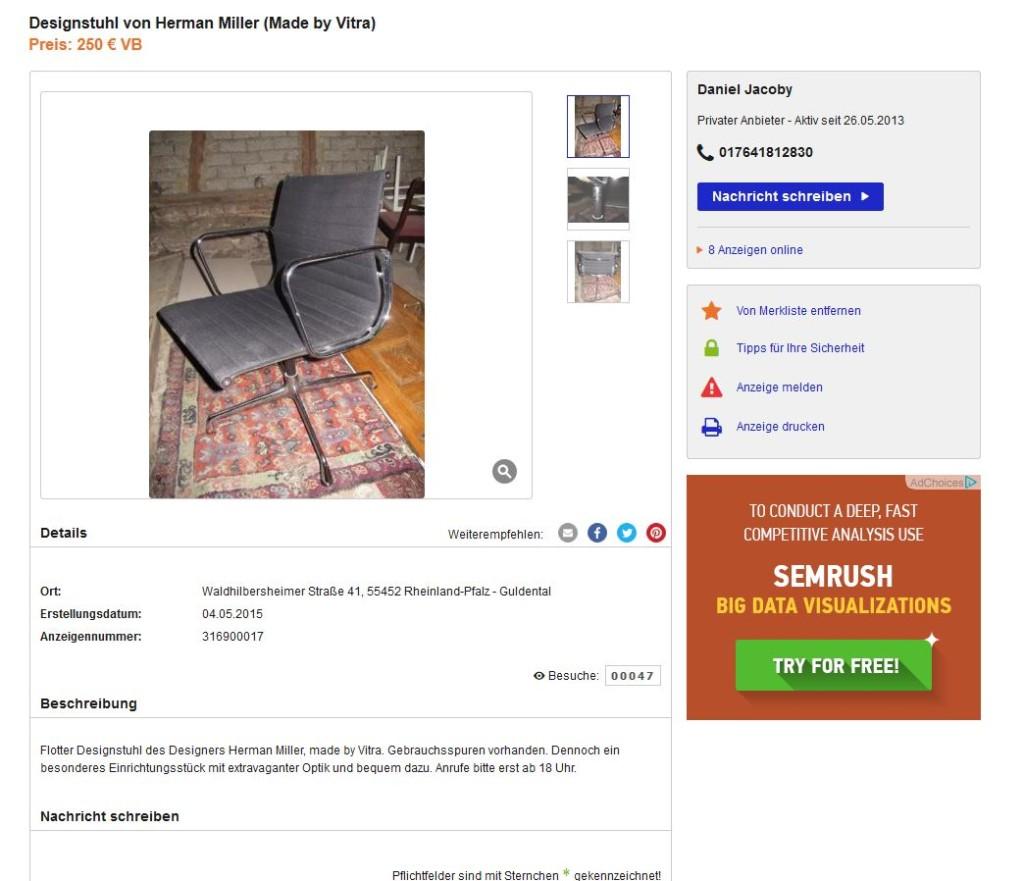 Charles Eames Bürostuhl gebraucht EA 108 Vitra Herman Miller gebrauchte Designklassiker günstig kaufen