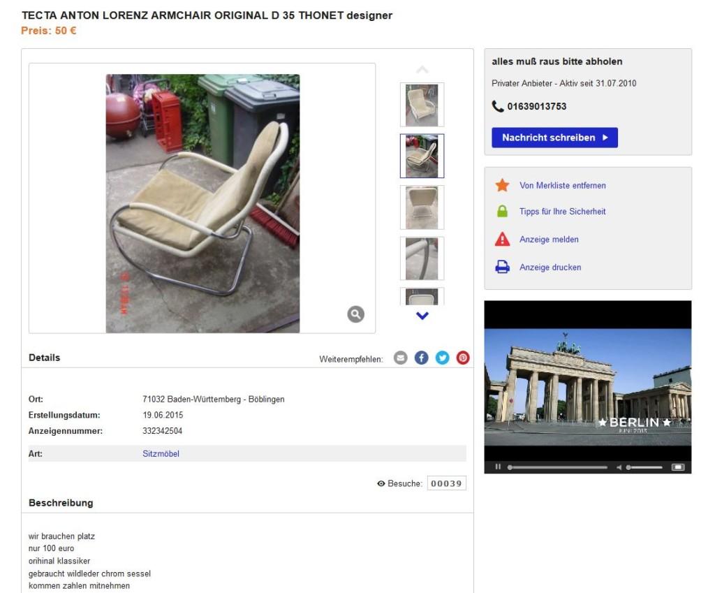Anton lorenz f r tecta d35 lounge chair freischwinger for Ebay kleinanzeigen schaukelstuhl