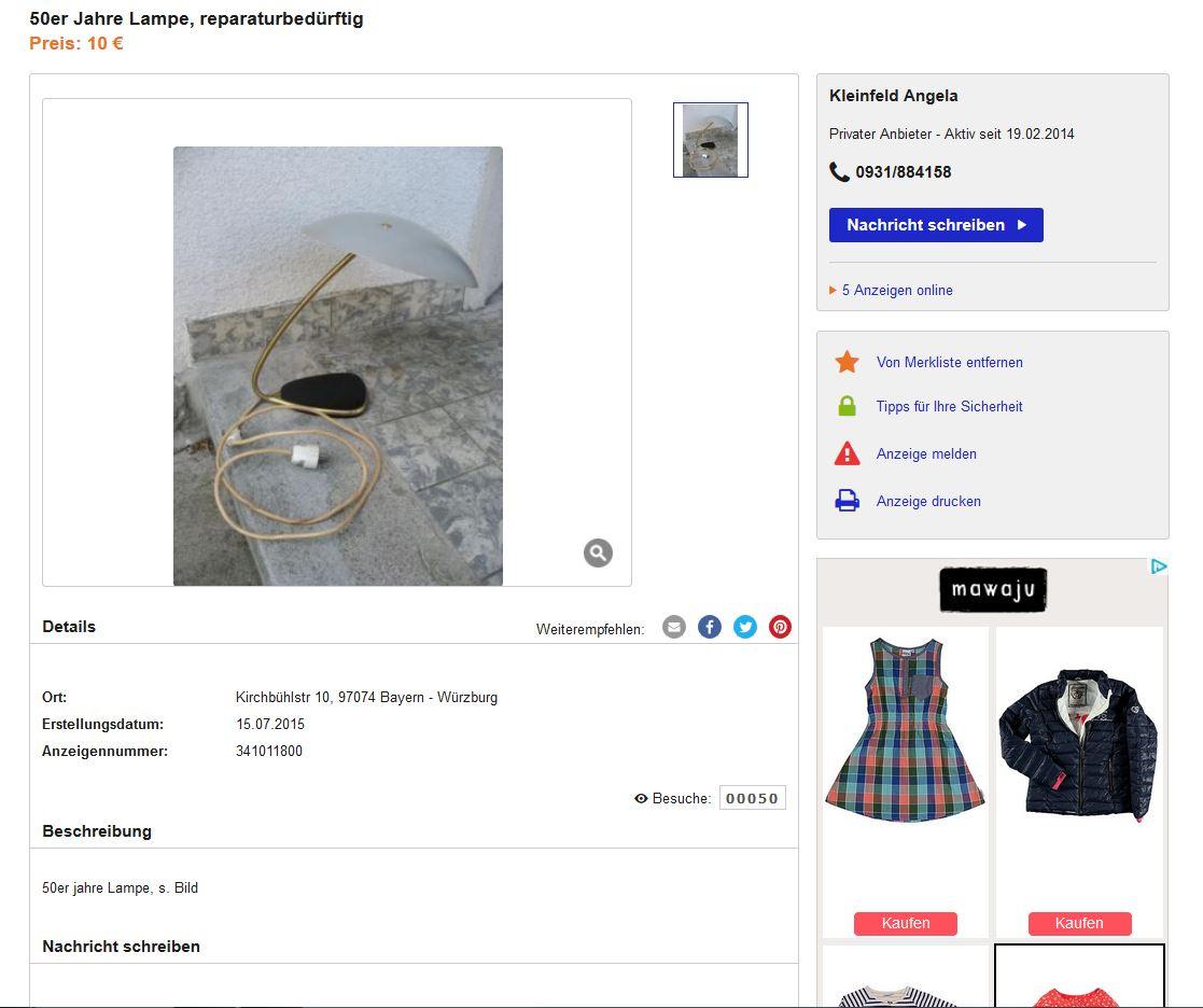 Midcentury modern tischlampe leuchte 50er vintage design for Ebay kleinanzeigen schaukelstuhl