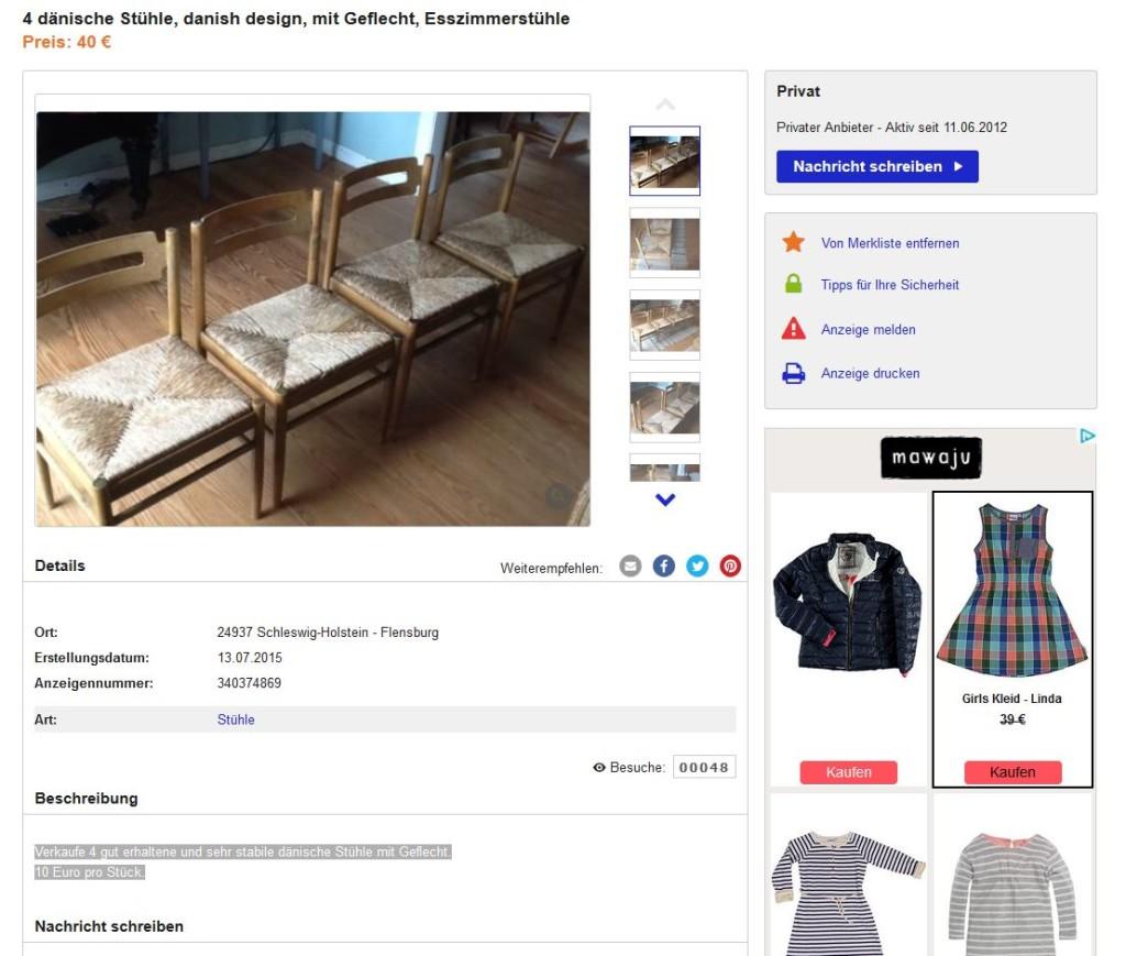 Danish design dining chairs 4er set esszimmerst hle for Ebay kleinanzeigen schaukelstuhl