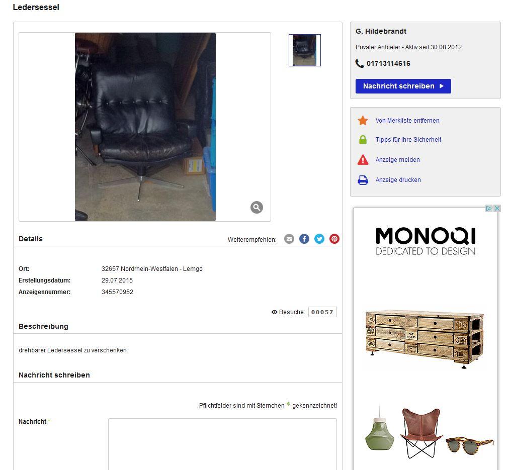 zu verschenken str ssle king chair andr vandenbeuck vintage 70er ledersessel ebay. Black Bedroom Furniture Sets. Home Design Ideas