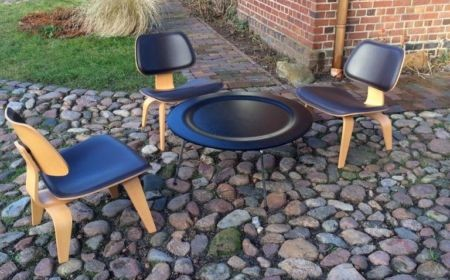 Vitra Charles & Ray Eames Plywood Chair LCW Leather und Tisch CTM
