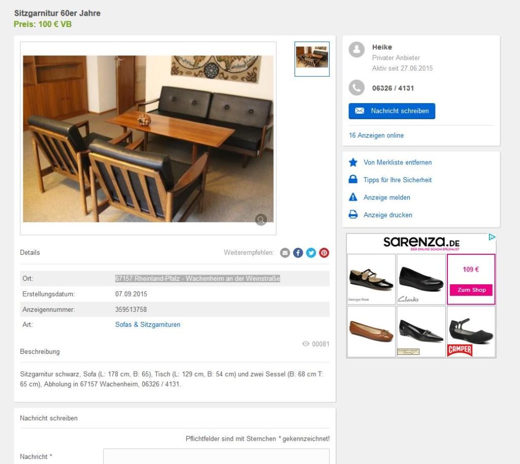 Midcentury Modern Design Couch Sofa Sessel Tisch Vintage Retro Design gebraucht kaufen günstig 50er 60er Jahre