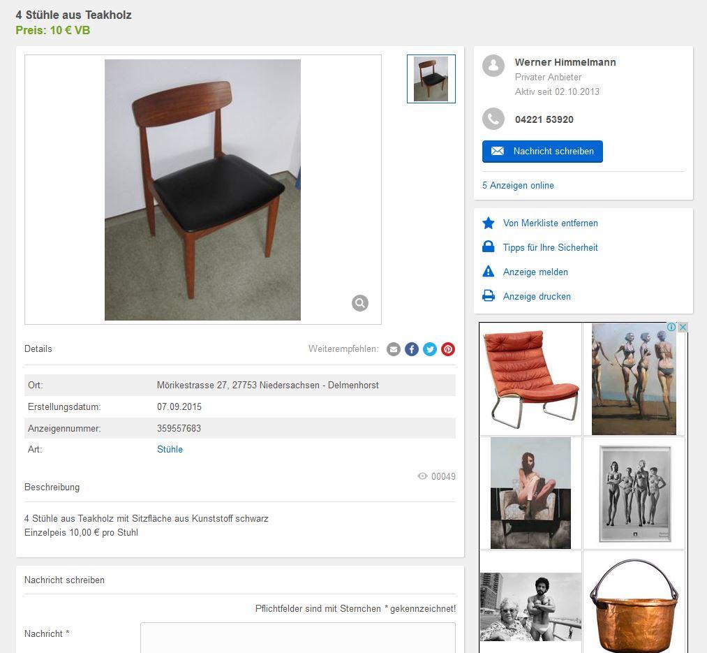 Teak Esszimerstühle Dining Chairs Midcentury Modern minimalism 60er 50er Jahre Style Retro Vintage