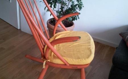 Illum Wikkelsø Schaukelstuhl Gyngestol rot für Niels Eilersen No. 3 Danish Design 60er