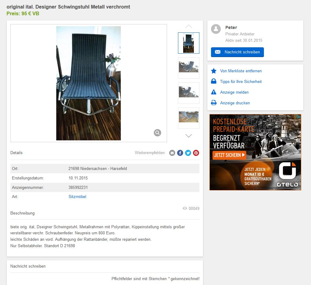 tecta d36 lounge chair freischwinger schwebesessel kragsessel bauhaus 30er 90er ebay. Black Bedroom Furniture Sets. Home Design Ideas