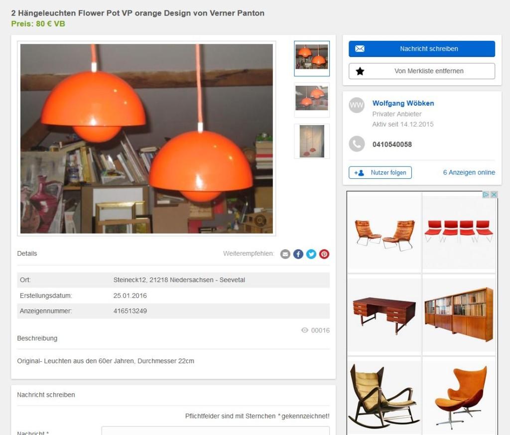 Zwei verner panton louis poulsen flowerpots pendelleuchten for Ebay kleinanzeigen schaukelstuhl