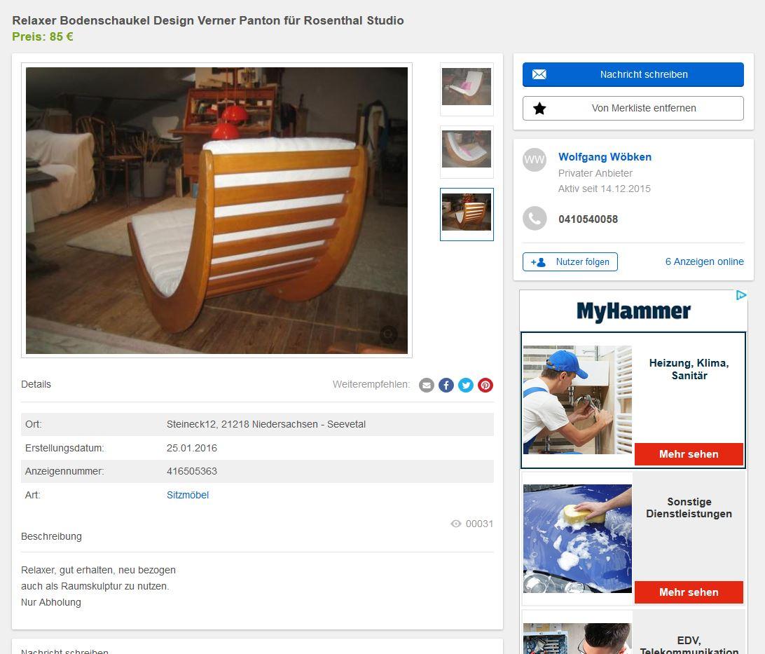 Verner panton schaukelstuhl rocking chair f r rosenthal for Schaukelstuhl 50er 60er