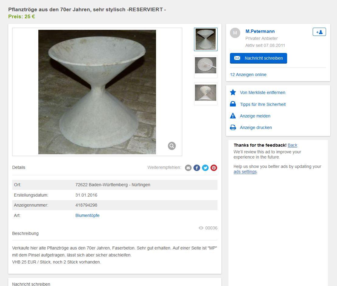 2 X Eternit Spindel Diabolo Pflanzkübel Von Willy Guhl Und Anton ... Designer Pflanzkubel Faserzement