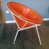 Zwei Cocktailsessel Wire Chairs 50er 60er Jahre mit Ledereinsatz Vintage Mid Century Modern